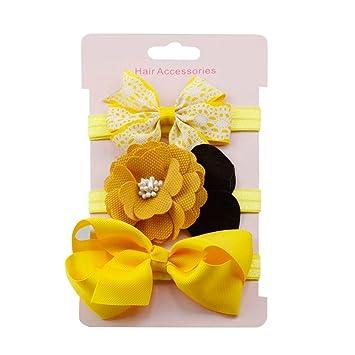 6997eb2a65e883 3Pcs Kinder elastisches Blumenstirnband |VENMO Haar Mädchen Baby Bowknot  Haarband Set | Stirnbänder verknotete Baby