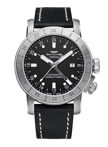 Glycine Airman World Timer - Reloj de pulsera GMT Fecha Analógico Automático 3947.191.lb9b: Amazon.es: Relojes
