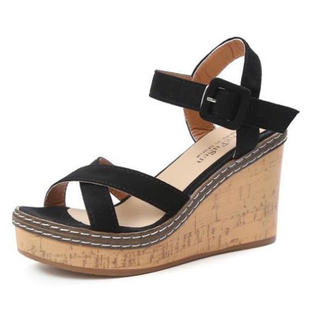 Xianshu Mode Nouveau B0785RKQT4 Talon compensé Simple Noir avec des Chaussures de Daim de la Mode des Femmes Sandales Confortables Noir ab2b46e - fast-weightloss-diet.space