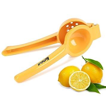 Lima Limón Exprimidor Exprimidor de mano, de aluminio, Naranja Amarillo, revestimiento de grado