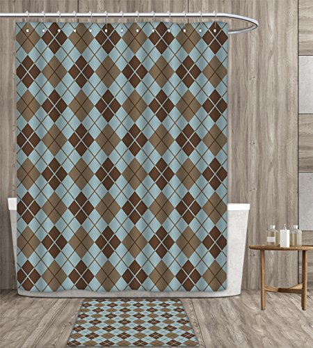familytaste Brown and Blue Shower Curtain customize Argyle Pattern with Diamond Shaped Rectangles Lines Abstract Geometric Fabric Bathroom Set with Metal hook 72x72 inch Bluegrey Brown gift bath rug ()