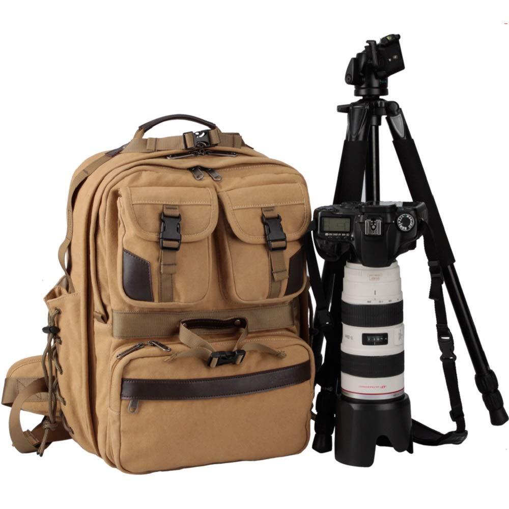 CAREELL プロフェッショナルレトロデジタル一眼レフカメラケース カメラバックパック C007 カーキ   B07KKBJ13H