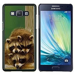 TECHCASE---Cubierta de la caja de protección para la piel dura ** Samsung Galaxy A5 ( A5000 ) 2014 Version ** --Familia linda del mapache feliz