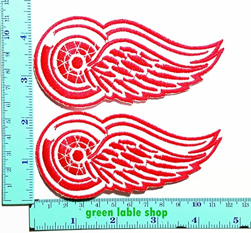 2 Pieces NHL Detroit Wings Red on White Team Patch Logo Sew Iron on Embroidered Appliques Badge Sign Costume by GreenLabel sport patch
