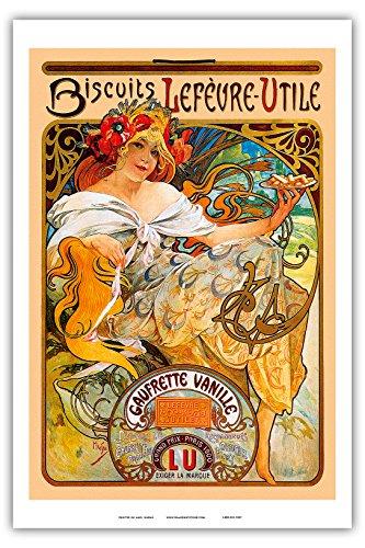"""Biscuits Lefevre Utile, Paris- Art Nouveau - La Belle Époque- """"Les Maitres de l'Affiche""""- Art Deco- Vintage French Advertising Poster by Alphonse Mucha ca.1897 - Master Art Print - 12in x 18in"""
