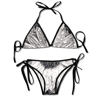 4b68a53b60 Image Unavailable. Image not available for. Color: PengYou Grey Blossom  Raindrop Women's Sexy Bikini Set Swimsuit Bathing Suit Halterneck Triangle  ...