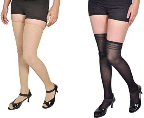 f7fe40253 Zoom Women s Fashion Wear Thigh-High Soft Nylon Long Stockings Fits From 24  to 34