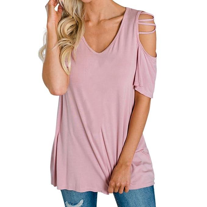 big sale f26c2 bccac Rcool Camicia Donna, Moda Senza Spalline O-Collo Blusa ...