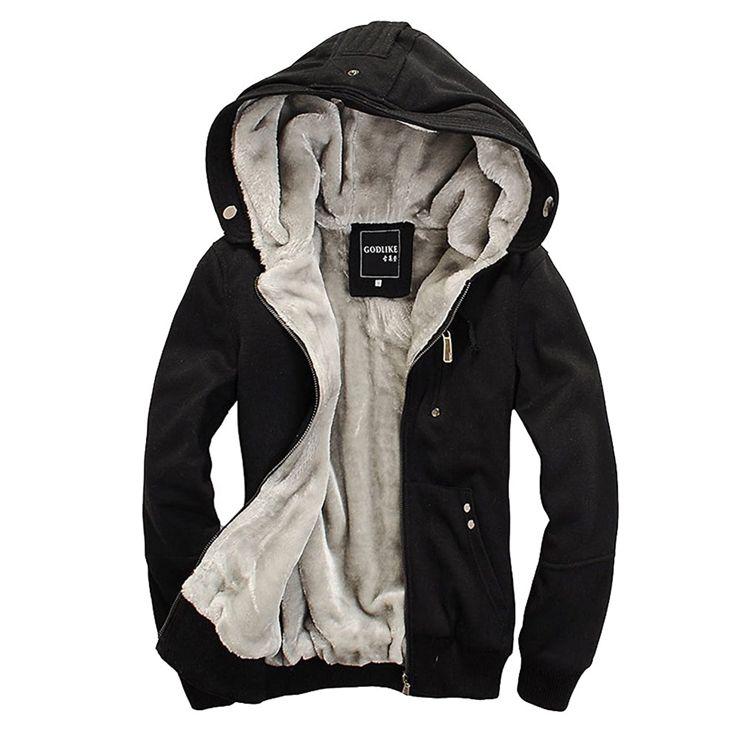 Egelbel Men Cotton Winter Casual Hoodies Coat Thick Warm Jacket at ...