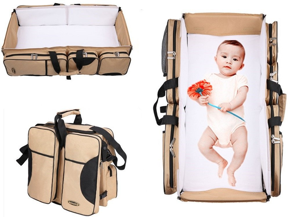 BOYOVO 3 in 1 Travel Bassinet Diaper Bag ,Portable Change Station ,Travel Crib ,Stroller Handles , Mulitfunctional Portable Carry Cot ,A Lounge to go, Tote Bag,Nursery Porta Crib (Color: Beige) BOYUAN Morph 3