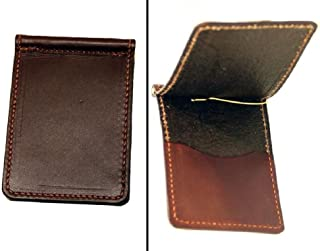 product image for Leather Bi Fold Money Clip with Credit Card Pocket USA Handmade Minimalist