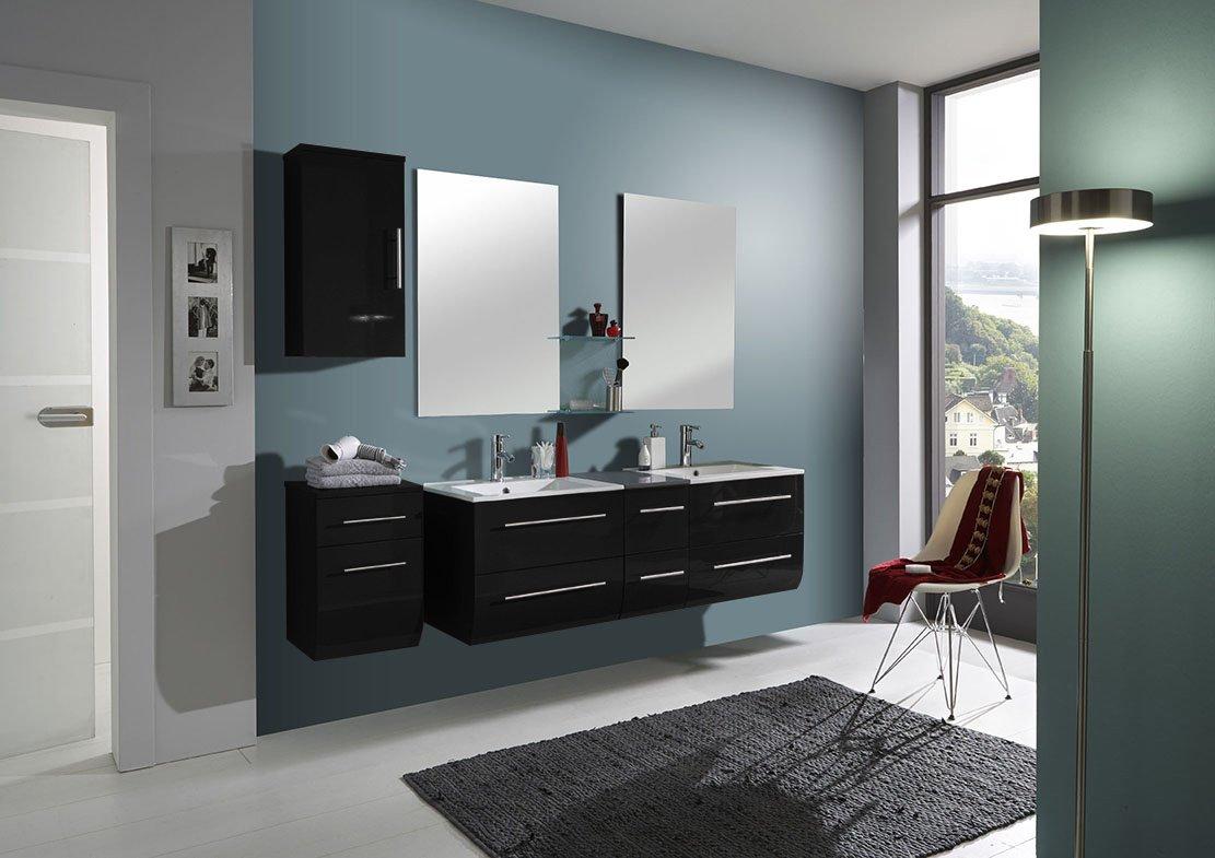 SAM® Badmöbel-Set Zürich light, 150 cm, Hochglanz schwarz, 4tlg., Badezimmer mit Softclose-Funktion, 1 Doppel-Waschplatz mit Keramikbecken, 2 Spiegel, 1 Unterschrank, 1 Hängeschrank