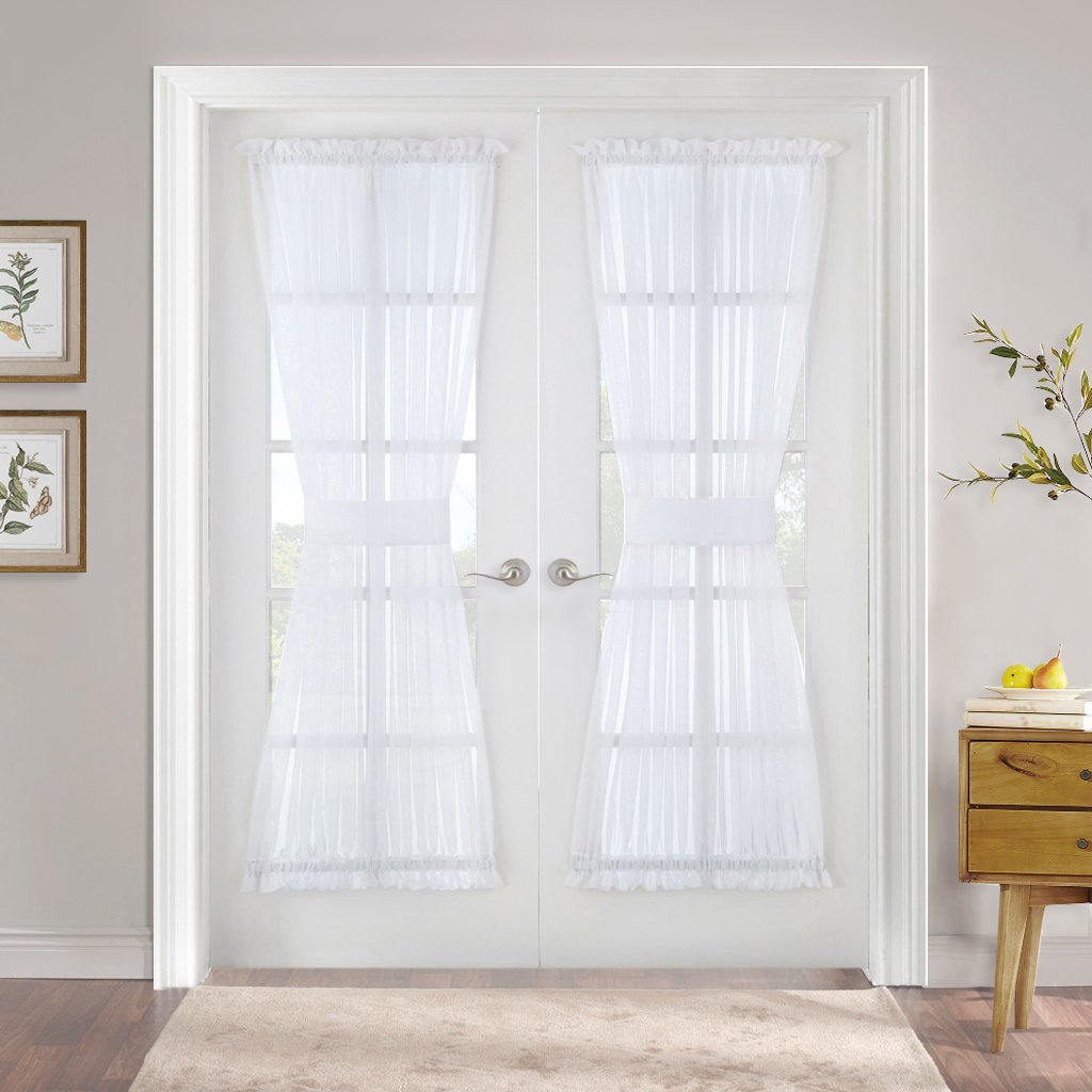 PONY DANCE Sheer Door Curtain - French Door Panel Voile Drapes Dual Rod Pocket Metal Glass Patio Door Light Filter Privacy Protect Tieback, 60 in Wide 72 in Long, White, 1 Piece