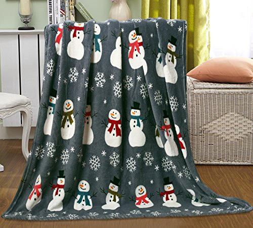 Ben&Jonah Let It Snow Collection Holiday Microfleece Throw Blanket (50