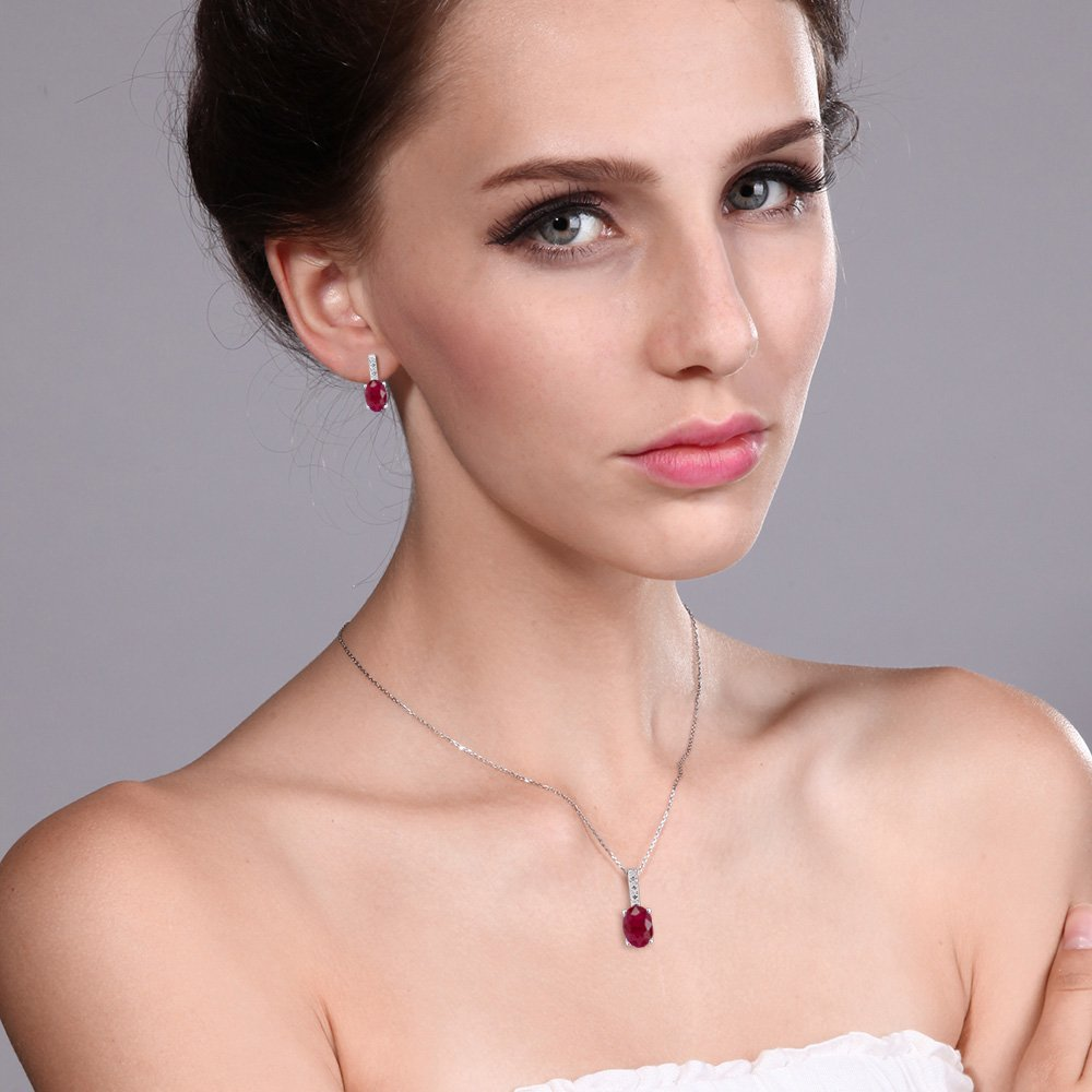 2.29 Ct Oval Red Ruby and Diamond White Gold Pendant Earrings Set by Gem Stone King (Image #2)