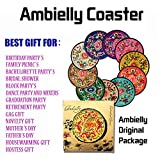 Ambielly Drinks Coasters,Vintage Ethnic Floral