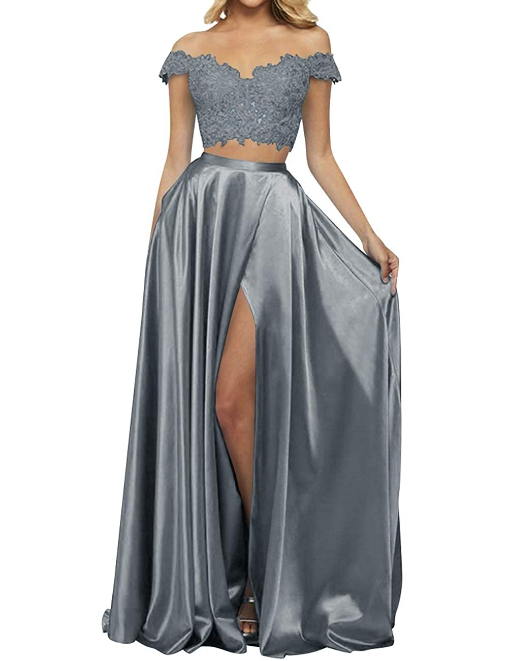 Steel Grey MorySong Women's 2 Piece Lace Satin High Split Off The Shoulder Prom Evening Dress