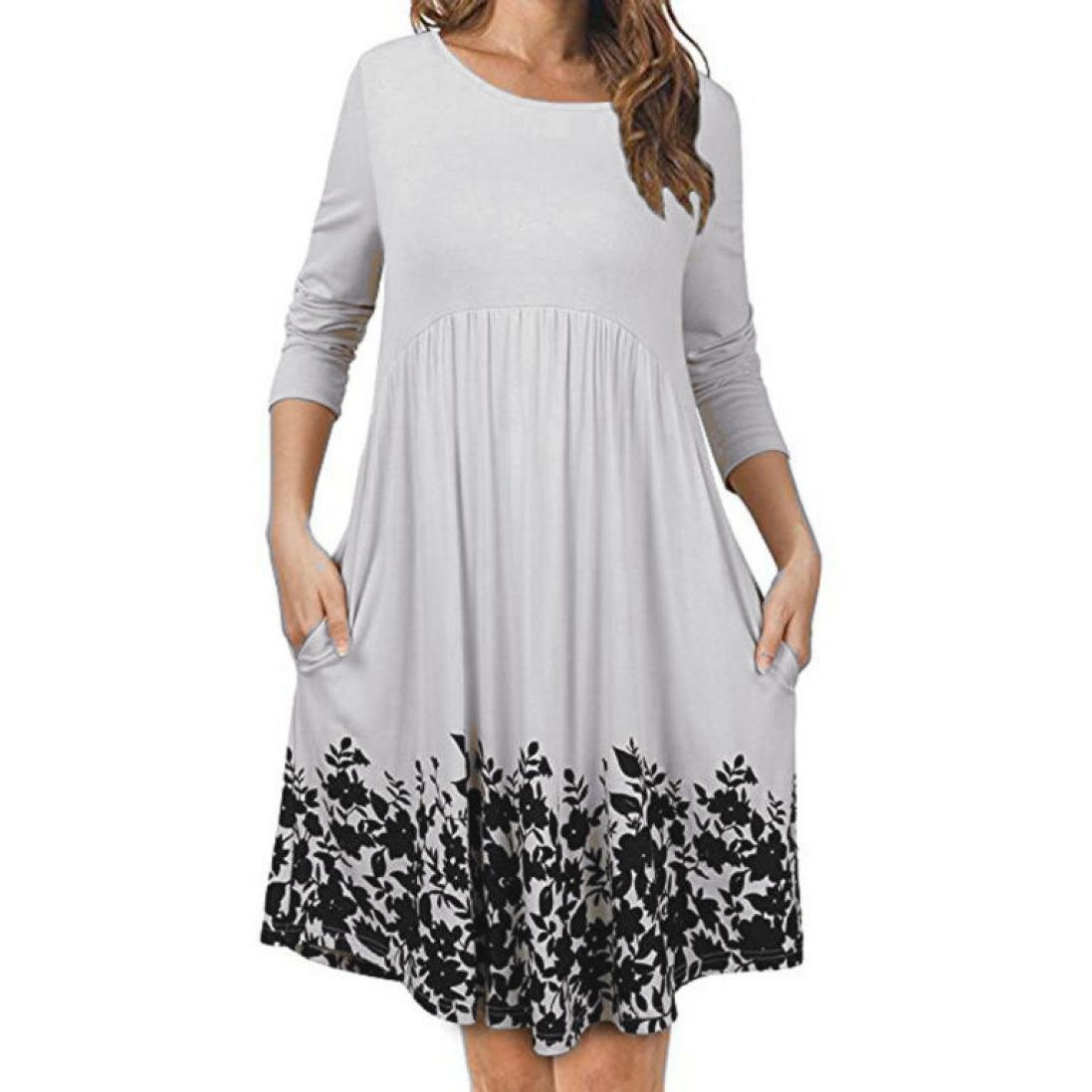 9804abb0692a Oksale Women s T Shirt Dress with Pockets Long Sleeve Floral Pleated Swing  Dress  Amazon.in  Clothing   Accessories