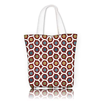 ca90828acd Tote Bag Shoulder Bag —W11 x H11 x D3 INCH Casual Top Handle Bag Crossbody  Shoulder Bag Purse House Decor Pattern with Dots and Circle Decorative  Symmetric ...