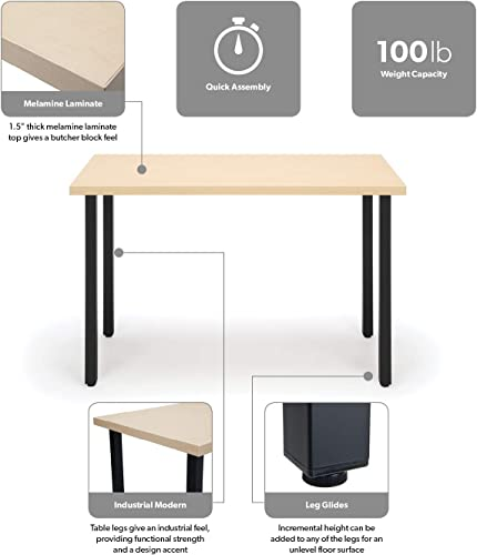 OFM Essentials Collection 48 Table Desk, Knotty Maple Woodgrain ESS-1051-BLK-KMP