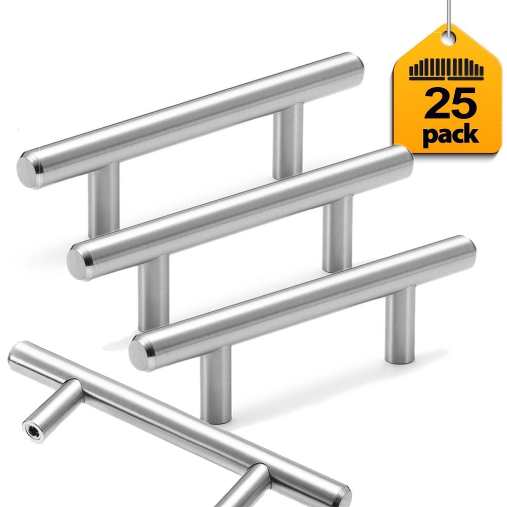 25 pack Cabinet Handles Pulls Kitchen Hardware Dresser Drawer Euro Style Stainless Steel Furniture Fine-Brushed Satin Nickel Finish