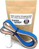 1X30 inch Assorted Belt Kit with Super Strop Leather Honing Polishing Belt Buffing Compound Included