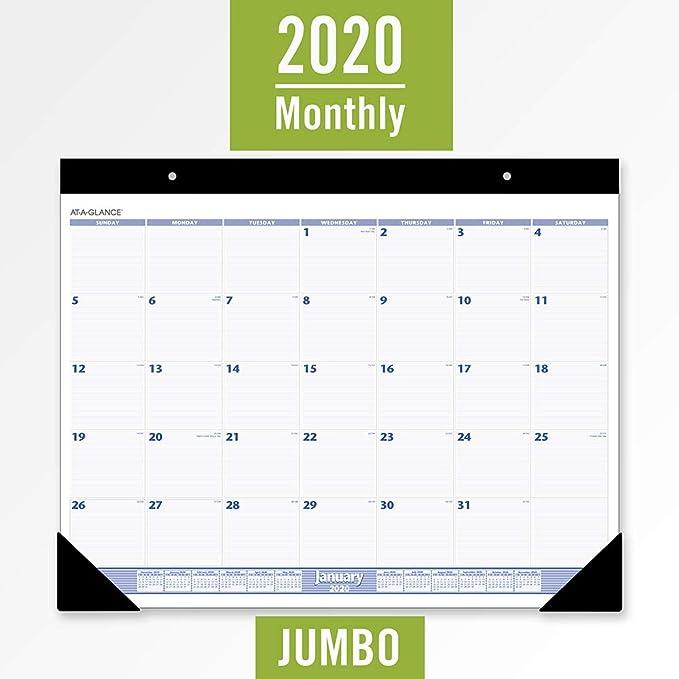 Mnps Calendar 2020.At A Glance 2020 Desk Calendar Desk Pad 24 X 19 Jumbo Blue Gray Sw23000
