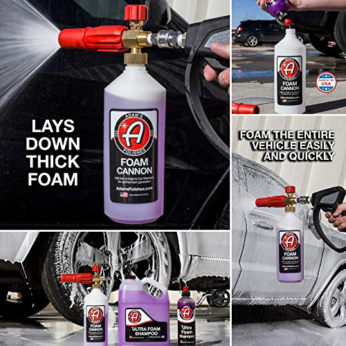 Adam's Red Foam Cannon - Produces Unbelievably Thick Snow Foam - Adjustable Air Intake Valve, Fan Pattern For Optimal Car Washing And Quick Connector For Pressure Washer Gun Blaster (Foam Cannon Only) by Adam's Polishes (Image #5)