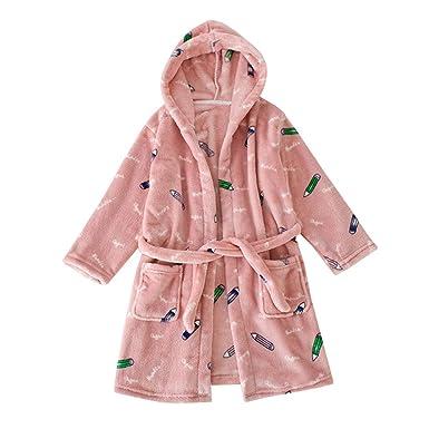 Lpattern Enfant Fille Garçon Robe De Bain Doux Flanelle Robe