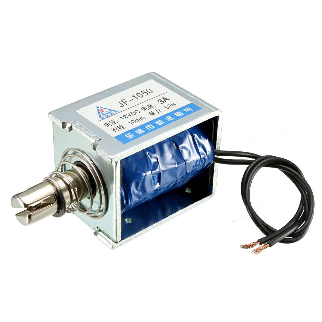 uxcell JF-1050 DC 12V 3A 60N 10mm Pull Type Open Frame Linear Motion Solenoid Electromagnet