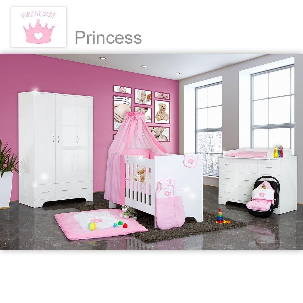 Hochglanz Babyzimmer Memi 19-tlg. mit Textilien Princess in Rosa