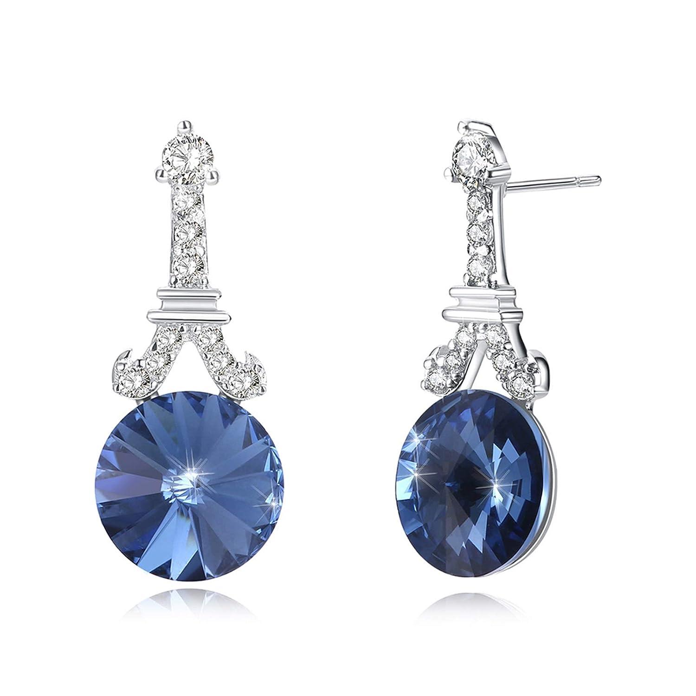 Adisaer Silver Plated Stud Earrings Sensitive Ears Zirconia Eiffel Tower Shaped Round Crystal Fashion Stylish Elegant Design Wedding Jewelry