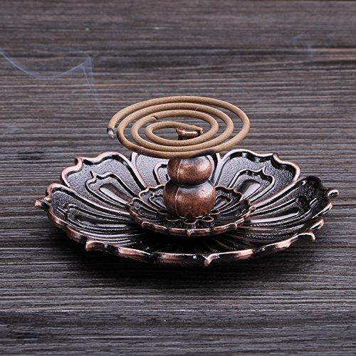 Gift Prod Alloy Magnet Lotus Stick Incense Burner and Cone Incense Holder Burner Holder for Stick and Coil Incense Incenses Not Included (Style 28)