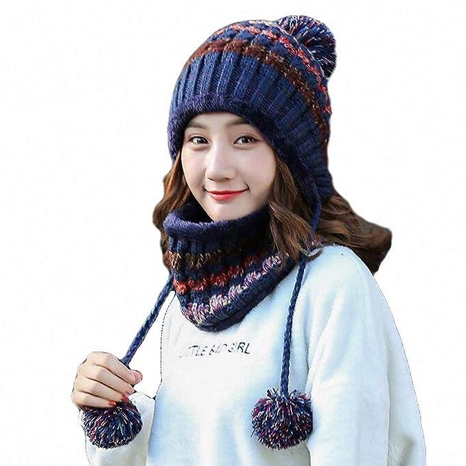 Sombrero y Bufanda Mujer Invierno Conjunto de Bufanda de Punto Girls Beanie  Hat Caliente Gorras con be727ae2f48