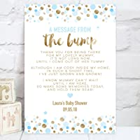 "Gold Effect and Blue or Pink Personalised Baby Shower ""A Message From The Bump"" Poem Table Sign (BS8)"