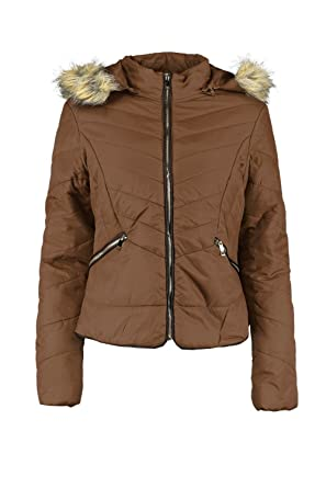 Amazon Com Boohoo Womens Freya Fitted Padded Jacket With Faux Fur
