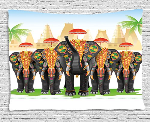 Ethnic Tapestry by Ambesonne, Elephants in Traditional Costumes with Umbrellas Indian Ceremony Ritual Graphic, Wall Hanging for Bedroom Living Room Dorm, 80WX60L Inches, (Indian Couple Costume)