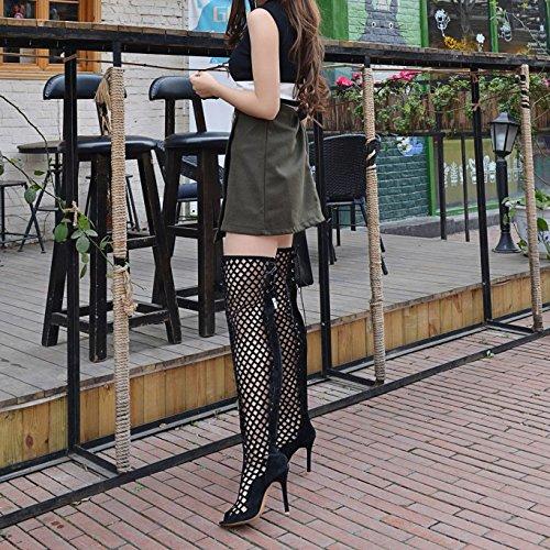 Verano De Las Peep Tallas De Hollow Party Talón Sandalias Toe Black Botas Del Alto Para Prom Zapatos Gladiador Mujer Señoras Prom 5IXHB