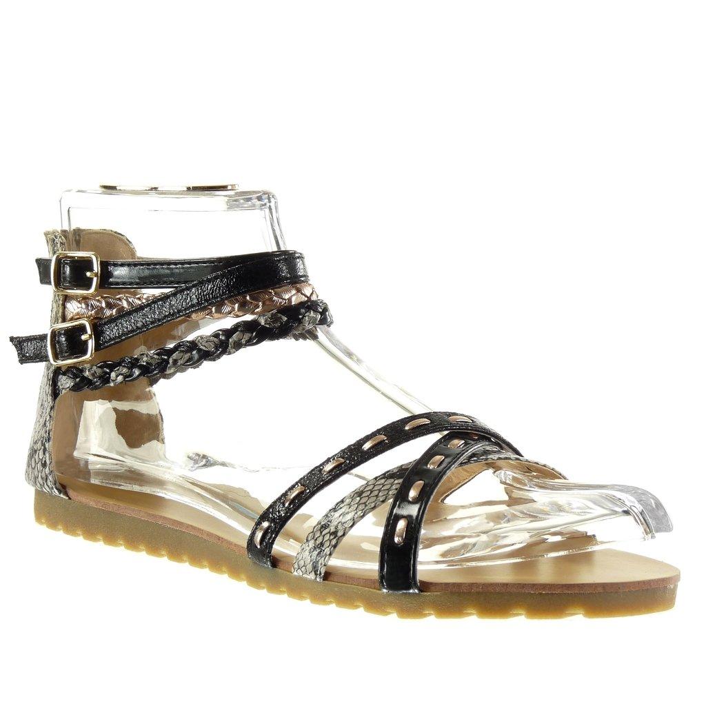 Angkorly Damen Schuhe Sandalen - Sexy - Multi-Zaum - Geflochten - Schlangenhaut Flache Ferse 1.5 cm Schwarz