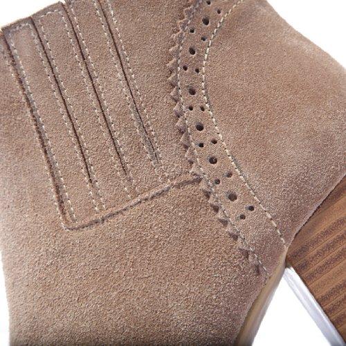 Nueve siete botas de tobillo de las mujeres ronda toe tacón bajo botines botas Fashion de piel hecha a mano Naked Color