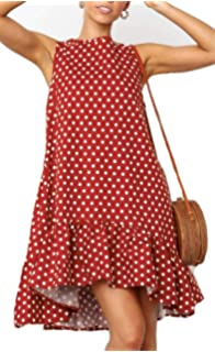 e74f78e6864dc BOCOTUBE Women's Summer Sleeveless Polka Dot Ruffle Hem Swing Dress with Pockets  Black