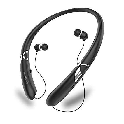 LSCHARM Auriculares Bluetooth Retráctil Neckband Deporte Auriculares Inalámbricos Estéreo Impermeable Cancelación de Ruido Auriculares con Micrófono