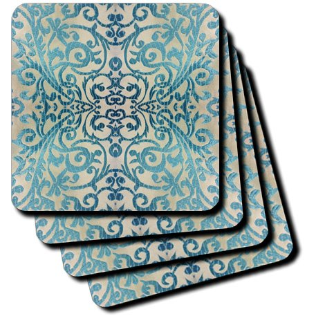 3dRose cst 26551 1 Formal Scroll Soft Coasters