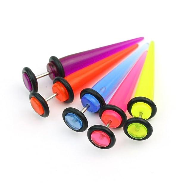 5X 16G 1.2mm UV Falso Expansor Pendiente Tapón Piercing para Oído Dilatador: Amazon.es: Joyería