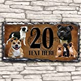 Custom Staffordshire Bull Terrier Staffy Dog House Slate Personalised Pet Name Number Sign - 30cm x 15cm by Krafty Gifts