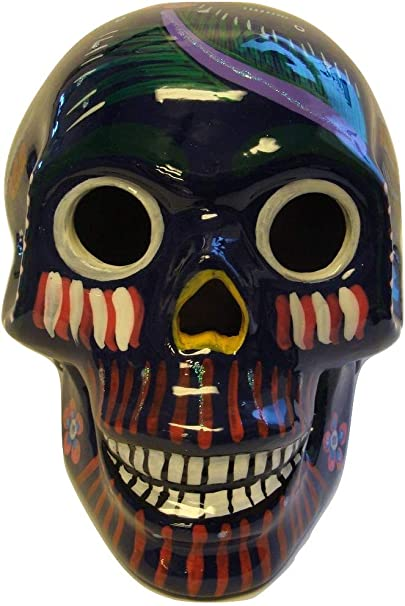 Mexican Glazed Ceramic Skull Med 3 Day Of The Dead Theme Dia De Los Muertos Mexico Red Clay Pottery Vibrant Hand Painted Original Art Nice Home Kitchen Amazon Com