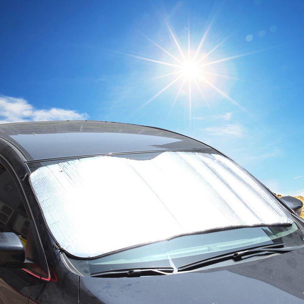 Zerone Windscreen Cover Universal Foldable Removable Large Silver Car Windshield Windscreen Sun Shade Heat Reflective Windshield Visor