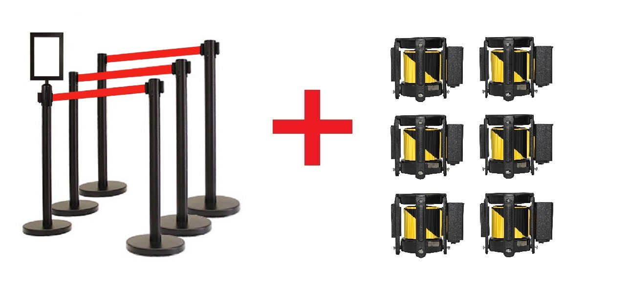 Retractable Stanchion, 6 Posts + Signframe, 36'' Ht, 78'' Belt + Extra Replacement Cassettes (Red Belt + Black/Yellow Cassettes)