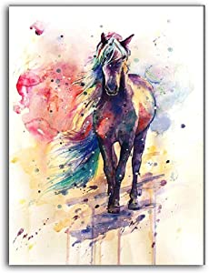 Colorful Horse Watercolor Wall Art, Unframed Rainbow Portrait Single Canvas Painting Print Artwork, Wall Decor Abstract For Living Room Home Office, 8x10 Inch