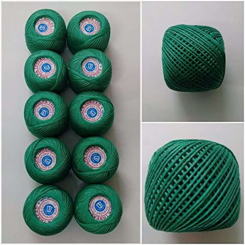 6 PLY STRAND - SHAMROCK GREEN - Lot Set of 10 - 100% Cotton Yarn Thread - Crochet Lace Knitting Embroidery Cross Stitch (10 Balls - 100 (Cotton Yarn Lace)